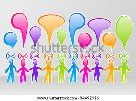 Colorful community social media network with speech balloon - stock photo