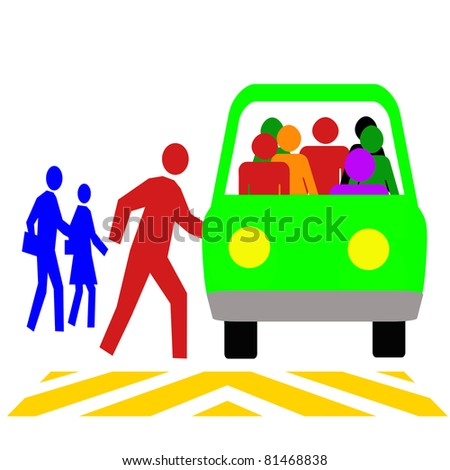 colorful commuters using public transit vehicle illustration - stock photo