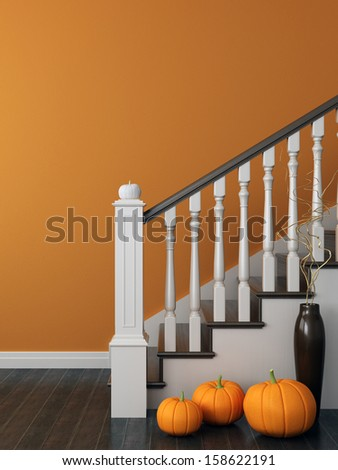 Colorful composition with classical staircase, which decorated for Halloween and posted on the background of bright orange wall - stock photo