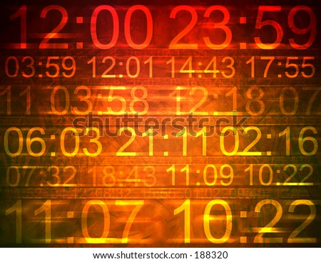 Colorful computer illustration indicating different times. - stock photo