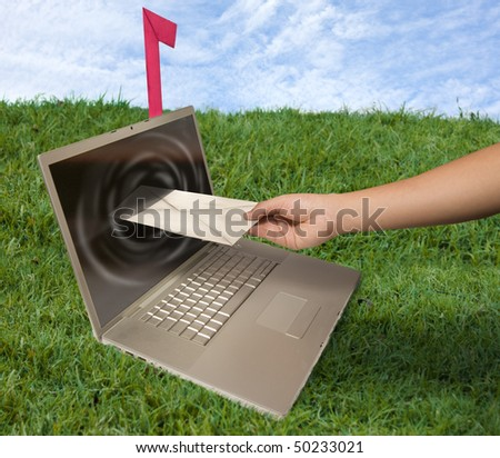 colorful concept of sending e-mail - stock photo