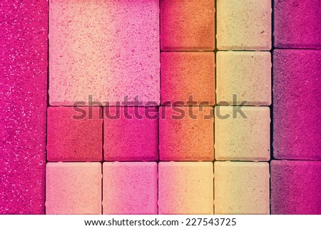 Colorful concrete paving texture background - stock photo