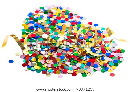 colorful confetti background with golden streamer over white. carnival or birthday concept