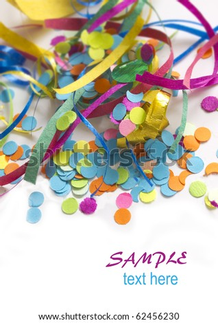 colorful confetti background with the place for your text - stock photo
