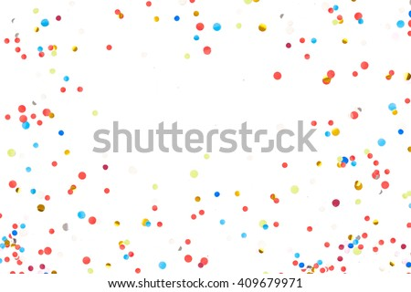 Colorful Confetti in front of White Background - stock photo