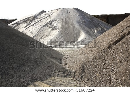 colorful construction sand mound quarry variety  sands - stock photo