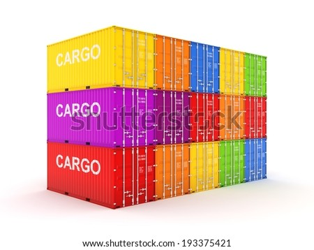 Colorful containers. 3d rendered illustration. - stock photo