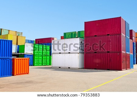 colorful containers for shipping transport - stock photo