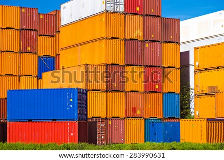 Colorful containers in Port of Rotterdam - stock photo