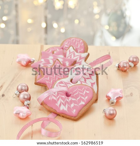Colorful cookies and ornaments for christmas time - stock photo