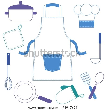 Colorful cooking utensils and kitchenware icons. Raster version - stock photo
