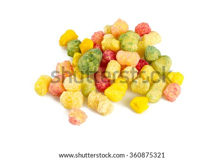 colorful corn puffs isolated on white - stock photo