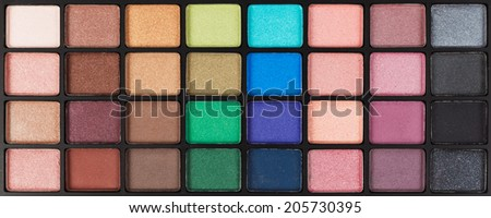 colorful cosmetic eyeshadow palette makeup set  - stock photo