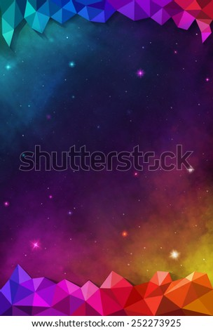 Colorful Cosmos - Varicolored - with Header and Footer - stock photo
