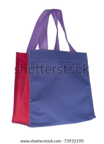 Colorful cotton bag on white isolated background. - stock photo