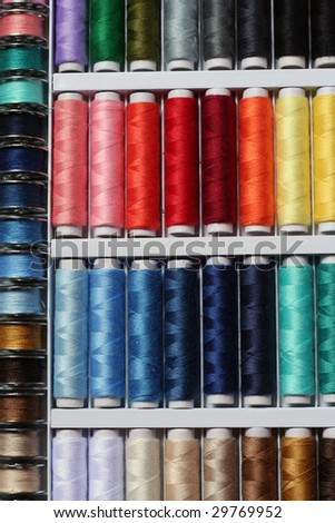 colorful cotton yarn set - stock photo