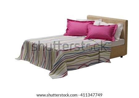 colorful covers on double bed , isolated on white background - stock photo