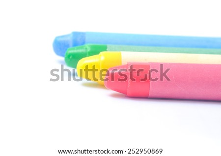 Colorful crayon isolated on white. - stock photo