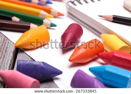 colorful crayons and pencils - stock photo