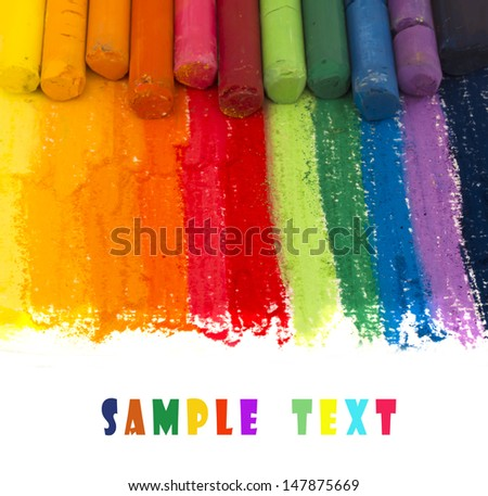 colorful crayons background with place for the text - stock photo