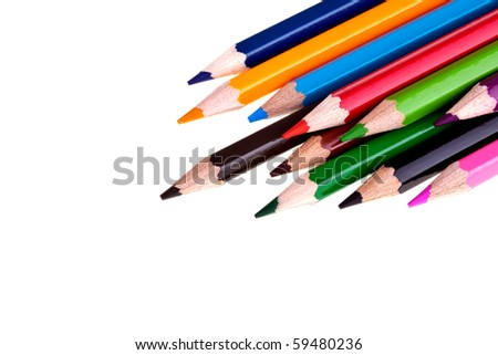 Colorful Crayons - completely isolated on white background, much space for own text