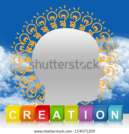 Colorful Creation Cube Box And Head With Many Light Bulb For Idea Generate Concept In Blue Sky Background - stock photo