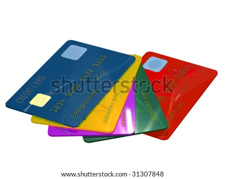 Colorful credit card close up on white background