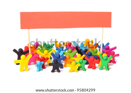 colorful crowd of rebelling plasticine people out on the street for a demonstration - stock photo