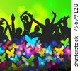 Colorful crowd of summer party people silhouettes background - stock vector