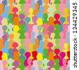 Colorful crowd, seamless background - stock vector
