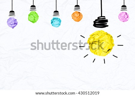colorful crumpled paper light bulb with white background creative inspiration concept metaphor for think different idea  /another direction / think other way - stock photo