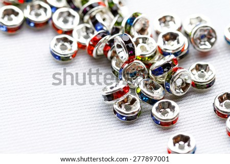 Colorful crystal beads for bracelets jewellery - macro photo - stock photo