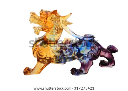 Colorful Crystal Pi Xiu, Chinese Mythical Creature - stock photo