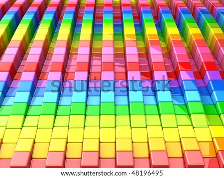 Colorful cube pattern background 3d illustration