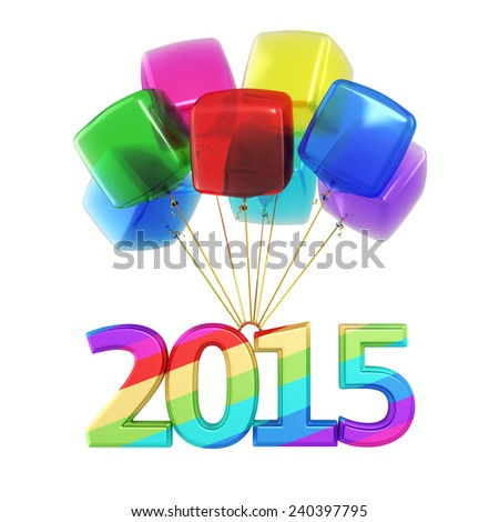 Colorful cubes Balloons New Year 2015 (isolated on white and clipping path) - stock photo