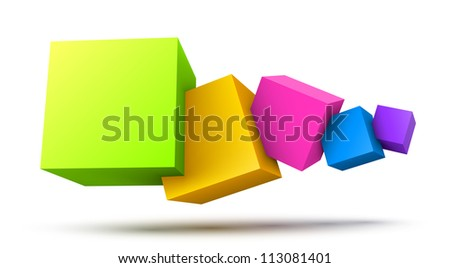 Colorful cubes 3D. - stock photo