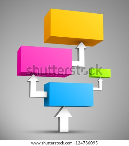 Colorful cubes with arrows 3D. - stock photo