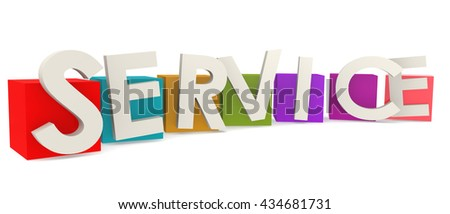 Colorful cubes with service word, 3D rendering