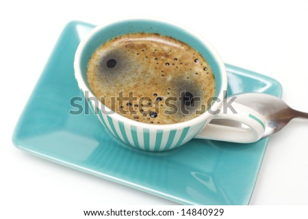 colorful cup of coffee isolated on white - stock photo