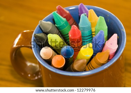 colorful cup of crayons - stock photo