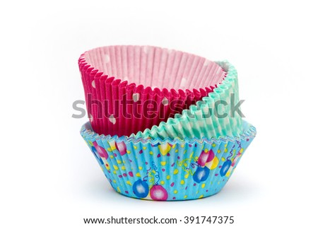 colorful cupcake forms on white background - stock photo