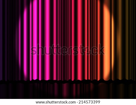 Colorful curtain on stage background - stock photo