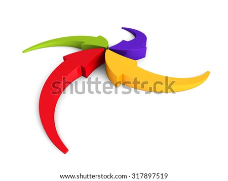 Colorful Curving Arrows Sweep Inward To Point At Center. 3d Render Illustration - stock photo