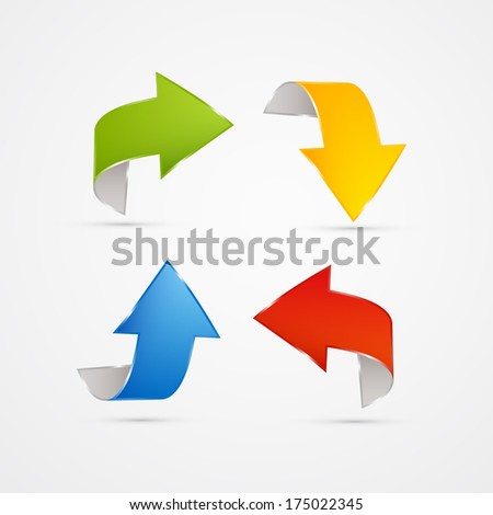 Colorful 3d Arrows Isolated on White Background - Also Available in Vector Version