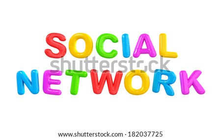 Colorful 3D Balloons And The Word Social Network - stock photo