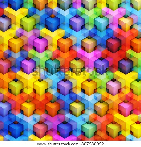 Colorful 3D boxes background - vibrant cubes pattern - stock photo