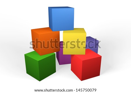 Colorful 3d building blocks in the colors of the rainbow stacked randomly on top of one another against a white background - stock photo