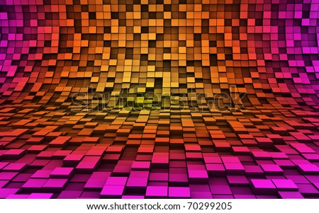 Colorful 3d cubes in motion - stock photo