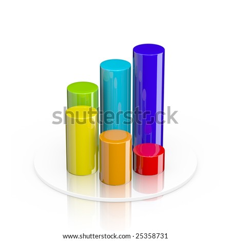 Colorful 3d cylindrical bar graph isolated on white - stock photo
