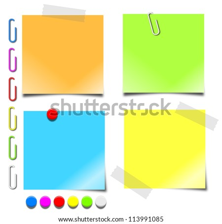 Colorful 3d graphics of blank notepaper, paperclips and pushpins.